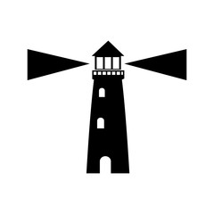 lighthouse guide ocean location signal vector illustration