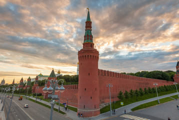 Dramatic sunset over Moscow Kremlin, Russia