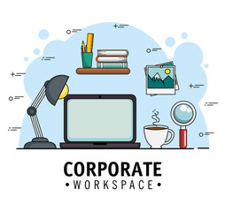 Corporate workspace design with laptop and office supplies over blue and white background vector illustration