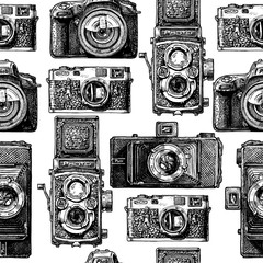 Wall Mural - Seamless pattern with photo cameras. Vector illustration in vintage engraved style on white background.