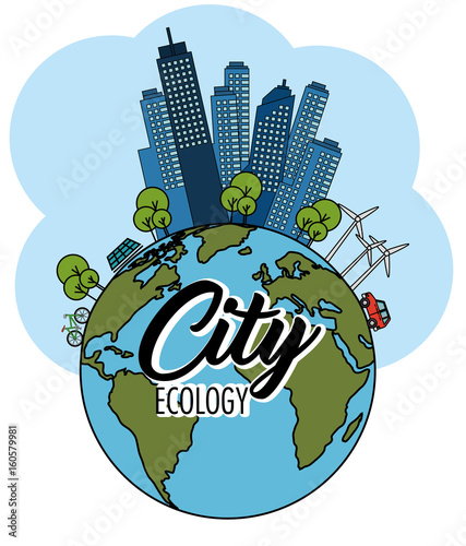 """Globe and eco friendly city with wind turbines and solar ..."