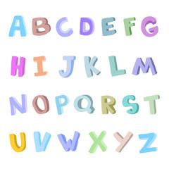 Vector hand-drawn children's alphabet. 3D doodle letters. ABC font for kids.