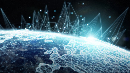 Global network and datas exchanges over the planet Earth 3D rendering