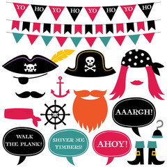 Pirate theme decoration and photo booth props