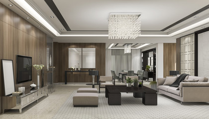 3d rendering luxury and modern living room with chandelier