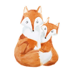 Hand-painted illustration of mother fox and baby sitting together