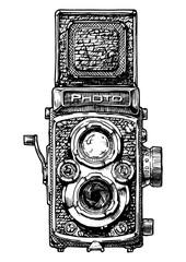 Wall Mural - illustration of twin-lens reflex camera