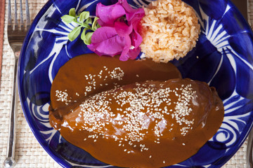 mole and rice served on a Talavera plate. This popular Mexican dish is complimented by dish ware from the Talavera region of Puebla