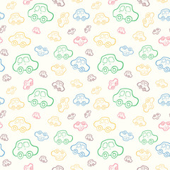 Vector seamless baby boy pattern background. Background. Boyish wallpaper.Pattern with hand drawn cars.