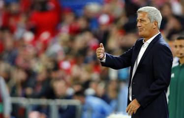 Switzerland's coach Petkovic gestures during their Euro 2006 qualification soccer match against Slovenia in Basel