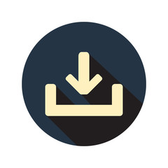 Download icon on circle in flat style