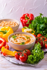 Hummus and chickpea. Jewish Cuisine. horizontal view