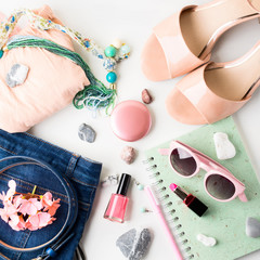 Summer color lifestyle woman clothes flat lay with accessories, make up and sandals