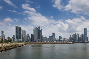 View of the downtown of Panama City with modern buildings on the background, in Panama.