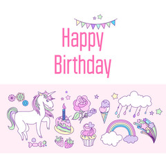 Happy birthday holiday card with cloud, fireworks, unicorn, stars flags, and rainbow on pink background