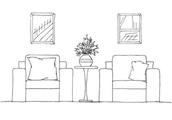 Two armchairs and a high table. Vase with flowers on the table. Hand drawn interior. Vector illustration in sketch style