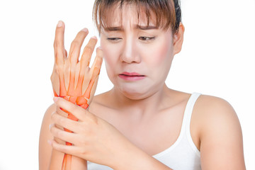Asian woman having hand pain