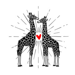 Two giraffes and heart. Objects isolated on white background. Vector illustration