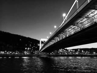 Bridge over Danube River in Budapest.