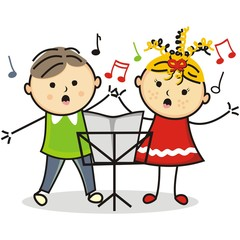 singing kids and music stand, vector icon