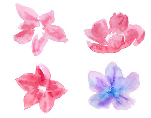 Set of decorative flowers, leaves