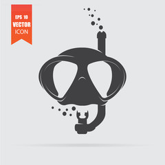 Diving mask icon in flat style isolated on grey background.