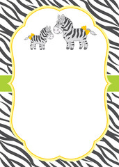 Vector Card Template with Cute Cartoon Zebras on Stripes Background.