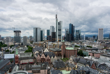 FRANKFURT, GERMANY - JUNE 4, 2017: Panoramic view of the financial district of Frankfurt on summer rainy cloudy day from Cathidral tower.