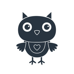 Cute cartoon owl silhouette