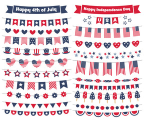 4th of July, US Independence Day bunting banners set