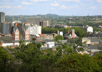 Stunning City scape of Liege View from the Bueren Mountain, Wallonia Region in Belgium