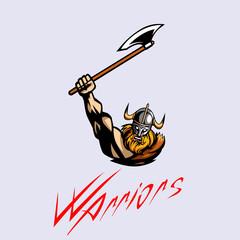 Evil viking sports logo emblem
