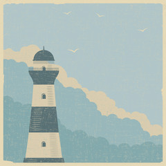 Vintage textured maritime poster with old lighthouse