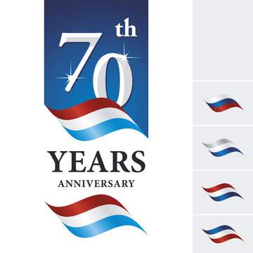 Anniversary 70 th years celebrating logo red white blue ribbon
