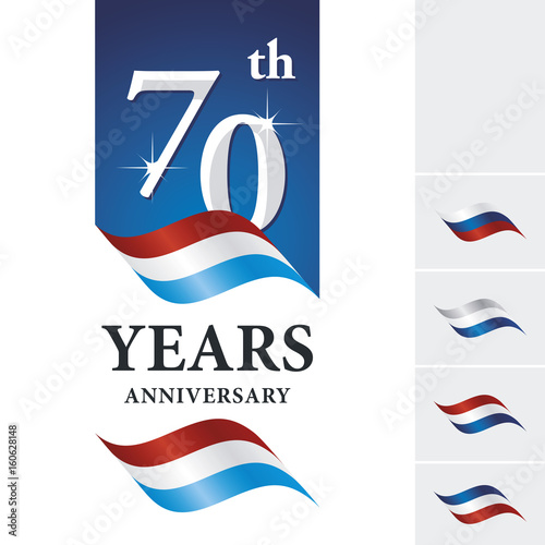 """Anniversary 70 th years celebrating logo red white blue ...