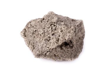 macro pyrite stone on a white background