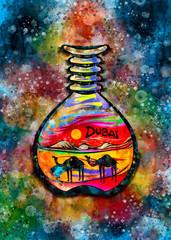 Dubai Sand Art Souvenir Watercolor Illustration