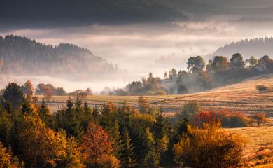 Autumn landscape, misty morning in the region of Kysuce, Slovakia, Europe.