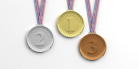 Set of medals on white background. 3d illustration