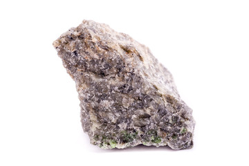 Macro mineral stone Olivine on white background