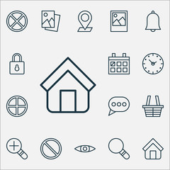 Internet Icons Set. Collection Of Landscape Photo, Increase Loup, Image Elements. Also Includes Symbols Such As Clock, Magnifying, Image.
