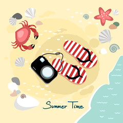 Summer beach background, vector illustration