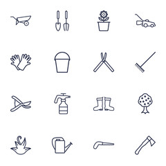 Set Of 16 Household Outline Icons Set.Collection Of Waterproof Shoes, Herb, Instruments And Other Elements.