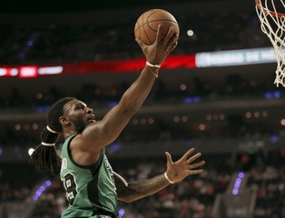 Crowder of Boston Celtics leaps to the basket to score against Sacramento Kings during their NBA Global Games basketball game in Mexico City