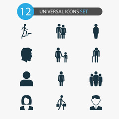 Human Icons Set. Collection Of Member, Grandpa, Delivery Person Elements. Also Includes Symbols Such As Mother, Member, Group.