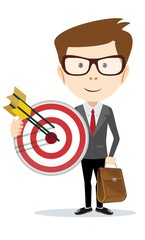 Businessman with a big target. vector illustration