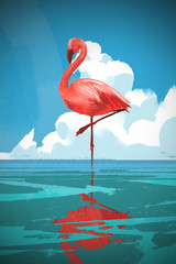 Flamigo standing on the sea against summer blue sky with digital art style, illustration painting