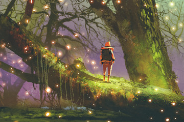 In de dag Lavendel hiker with backpack standing on giant tree with fireflies in enchanted forest, digital art style, illustration painting