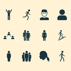 People Icons Set. Collection Of Gentlewoman Head, Jogging, Ladder And Other Elements. Also Includes Symbols Such As Man, Rejoicing, Profile.