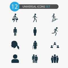 People Icons Set. Collection Of Group, Ladder, Member And Other Elements. Also Includes Symbols Such As Couple, Group, Courier.
